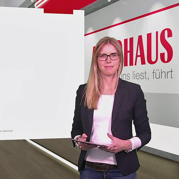 Tanja Herzig beim Dreh für AUTOHAUS next