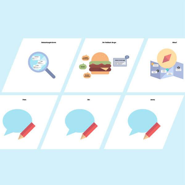 Ansicht eines Conceptboard-Designs zu den Feedbackregeln