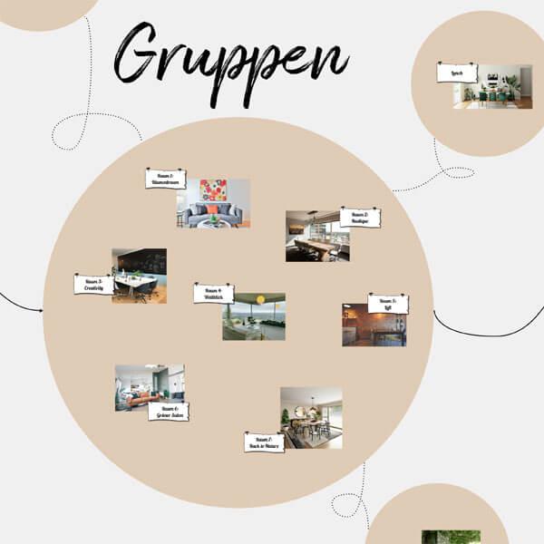Detailansicht eines Conceptboard-Designs zu einer Gruppenarbeit