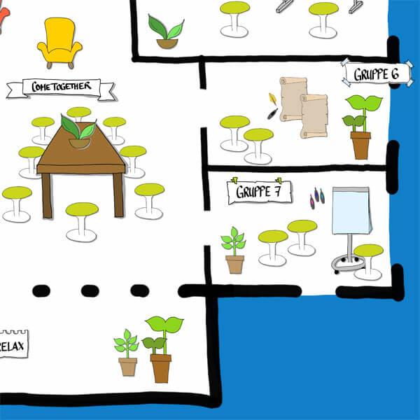 Detailansicht eines Conceptboard-Designs zu einem Meeting