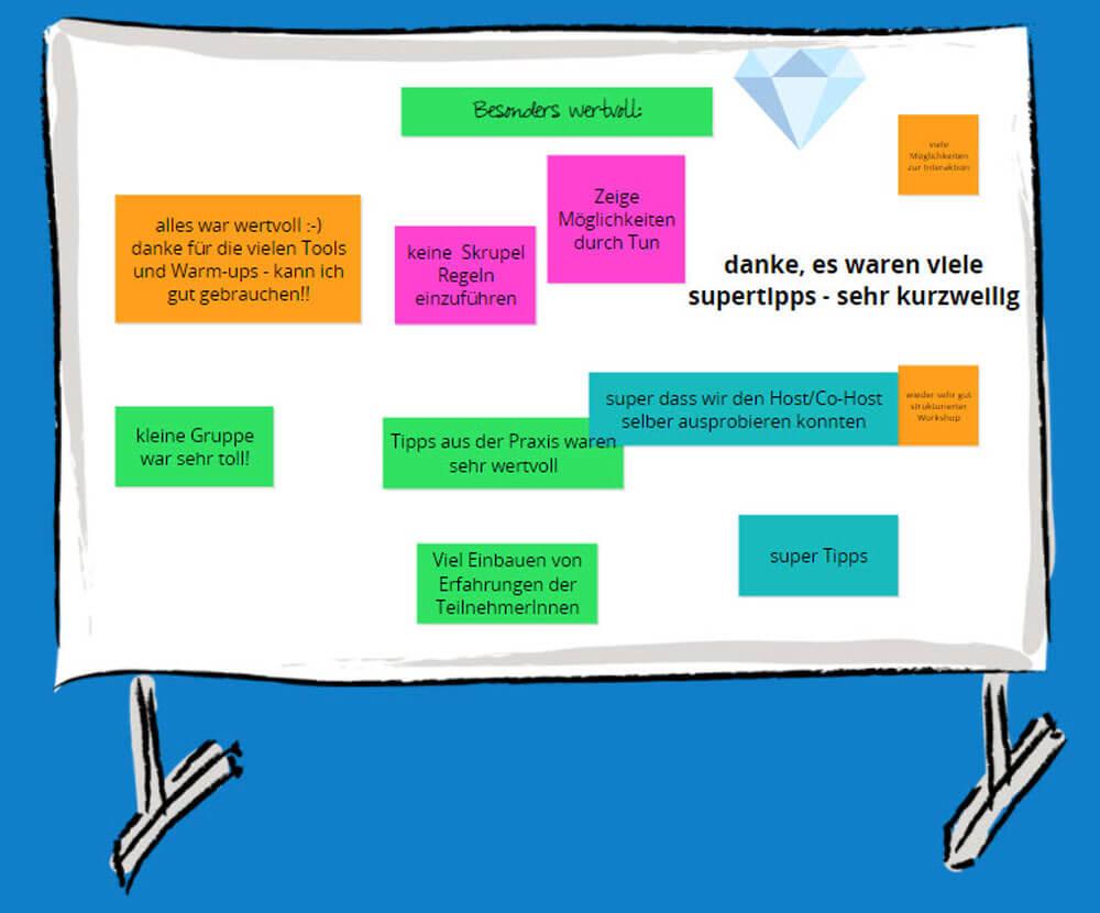 Pinnwand mit Bewertungen zum Workshop Online-Moderation von Tanja Herzig